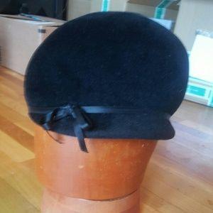 Vintage 50's Newsboy Mod Black Hat w Bow NWOT